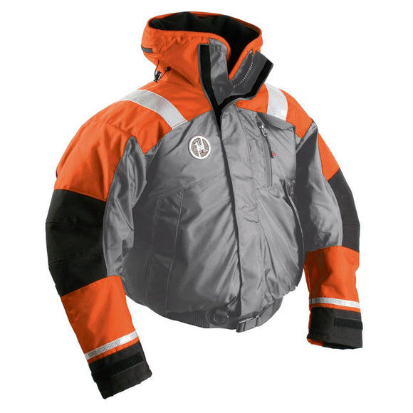 First Watch AB-1100 Flotation Bomber Jacket - Orange-Grey - Large [AB-1100-OG-L]