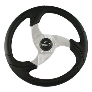 "Schmitt Folletto 14.2"" Black Poly Steering Wheel w- Polished Spokes and Black Cap - Fits 3-4"" Tapered Shaft Helm [PU026101]"