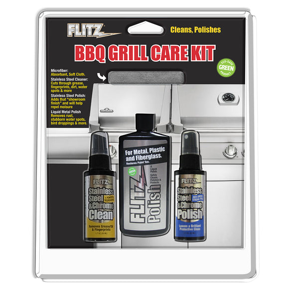 Flitz BBQ Grill Care Kit w-Liquid Metal Polish, Stainless Steel Cleaner, Stainless Steel Polish-Protectant Towelettes  Microfiber Cloth [BBQ 41504]
