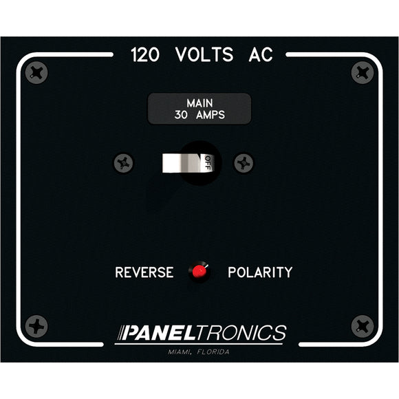Paneltronics Standard Panel AC Main Double Pole w-30Amp CB & Reverse Polarity Indicator [9982316B]