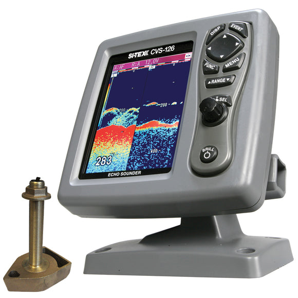 SI-TEX CVS-126 Dual Frequency Color Echo Sounder w-600kW Thru-Hull Transducer 1700-50-200T-CX [CVS-1266TH1]