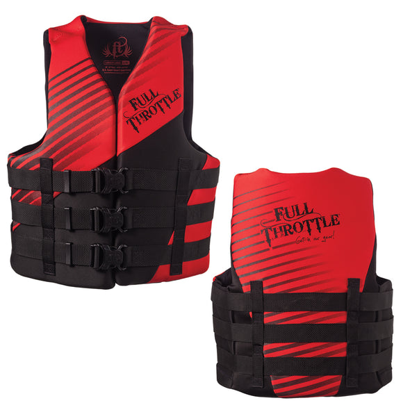 Full Throttle Rapid Dry PFD - Adult 2XL-4XL - Red-Black [142000-100-080-14]