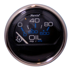 "Faria Chesapeake Black SS 2"" Oil Pressure Gauge - 80 PSI [13702]"