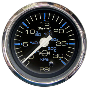 "Faria Chesapeake Black SS2"" Water Pressure Gauge Kit - 30 PSI [13712]"