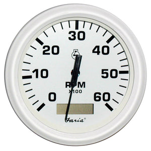 "Faria Dress White 4"" Tachometer w-Hourmeter - 6,000 RPM (Gas - Inboard) [33132]"