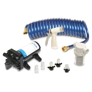 SHURFLO PRO WASHDOWN KIT II Ultimate - 12 VDC - 5.0 GPM - Includes Pump, Fittings, Nozzle, Strainer, 25' Hose [4358-153-E09]