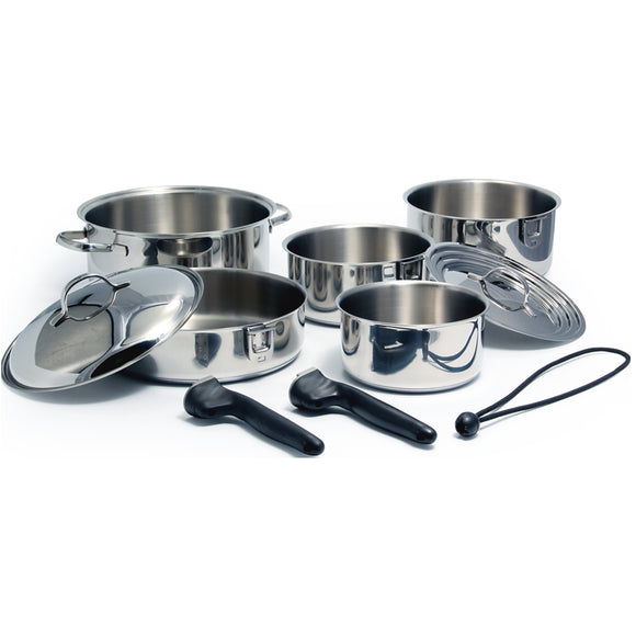 Kuuma 10-Piece Stainless Steel Nesting Cookware Set - Induction Compatible - Oven Safe [58371]