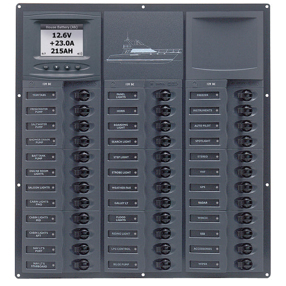 BEP Cruiser Series DC Circuit Breaker Panel w-Digital Meters 36SP DC12V [NC36L-DCSM]