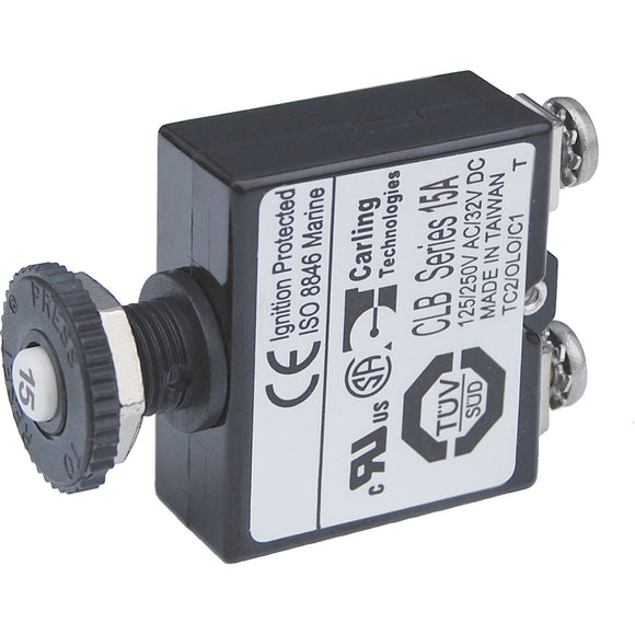 Blue Sea Push Button Reset Only Screw Terminal Circuit Breaker - 15 Amps [2133]
