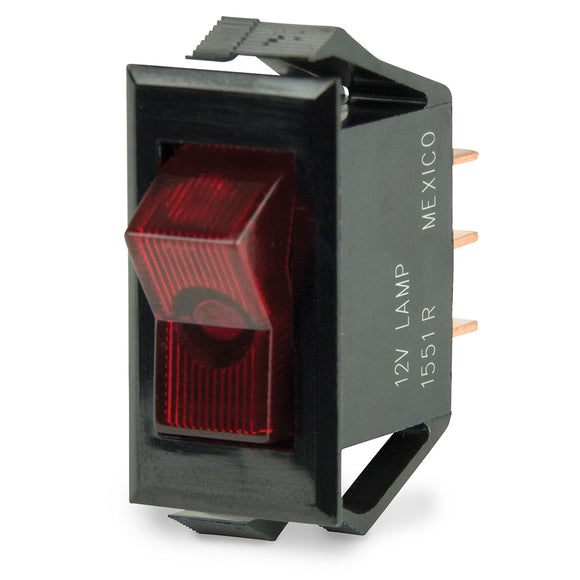 BEP Illuminated SPST Rocker Switch - Red LED - 12V - OFF-ON [1001705]