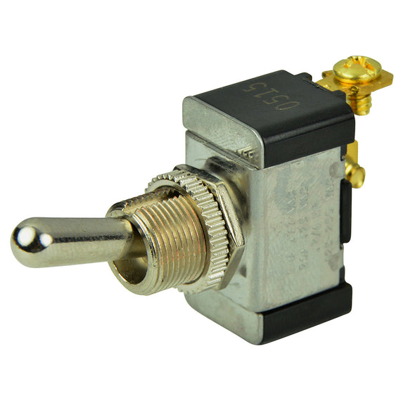 BEP SPST Chrome Plated Toggle Switch -OFF-(ON) [1002002]