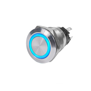 Blue Sea 4161 SS Push Button Switch - Off-(On) - Blue - 10A [4161]
