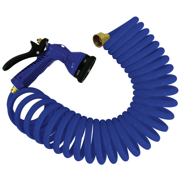 Whitecap 25 Blue Coiled Hose w-Adjustable Nozzle [P-0441B]