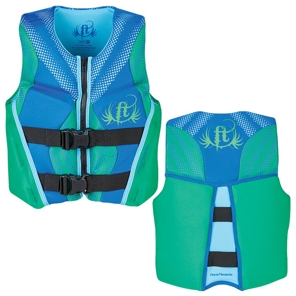 Full Throttle Hinged Rapid-Dry Flex-Back Life Vest - Youth 50-90lbs - Green [142500-400-002-19]