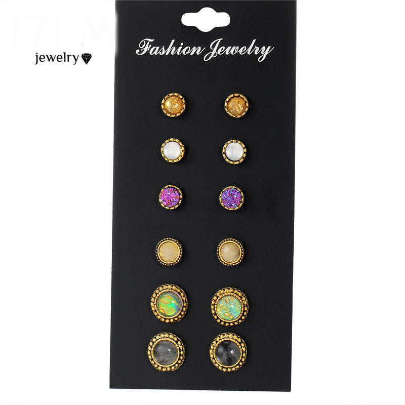 Natural Stone opal Stud Earrings Mixed Color Round 6 PCS/Lot Earring