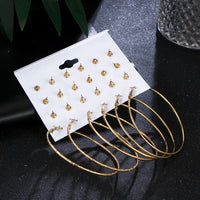 Woman Earrings Big Geometric Crystal Heart Stud Earrings For Women Fashion Simulated Pearl Jewelry