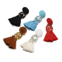 Multicolor Crystal Beads Flower Tassel Drop Earrings Fringe Long Dangle Earring