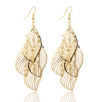 Hollow Flower Gold Color Leaf Drop Earrings Tassel Long Earrings