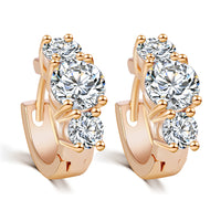 Luxury Gold Color Crystal Cubic Zircon Earrings Silver Color