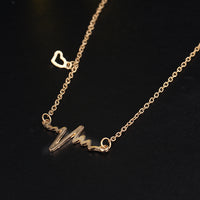 Simple Wave Heart Necklaces & Pendants Gold Color Heartbeat