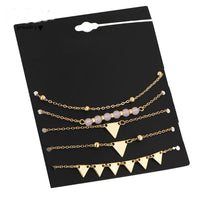 5Pcs/Set Alloy Triangle Bracelet Stone Gold Color