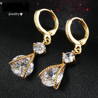 Vintage Gold Color Crystal Drop Water Dangle Earring TrendyJewelry