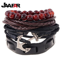 4pcs / Set Fashion Weave Wrap Strand  Leather Anchor Bracelets