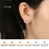 3 Colors Crystal Flower Stud Earrings Piercing Earrings for Women