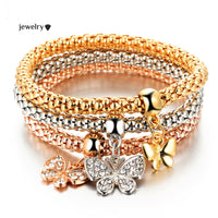 3 PCS/Set Crystal Butterful Bracelet & Bangle Multiple Shape Elastic Heart Bracelets