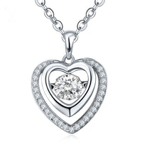 925 Sterling Silver Heart Necklace Dancing Natural Topaz Pendant