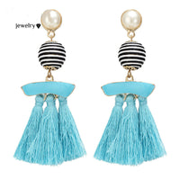 Multicolor Ball Pendant Tassel Earrings Handmade Long Dangle Chandelier Earring
