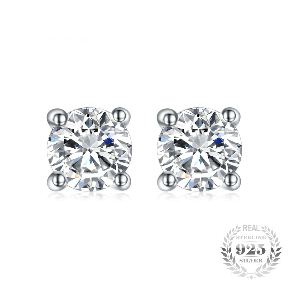 Round 1ct Pure 925 Sterling Silver Stud Earrings