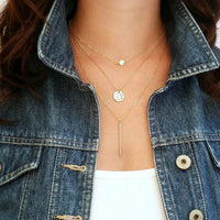 Crystal layer 3 gold sliver color chain necklace