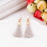 Korean simple short section tassel nail imitation pearl tassel earrings