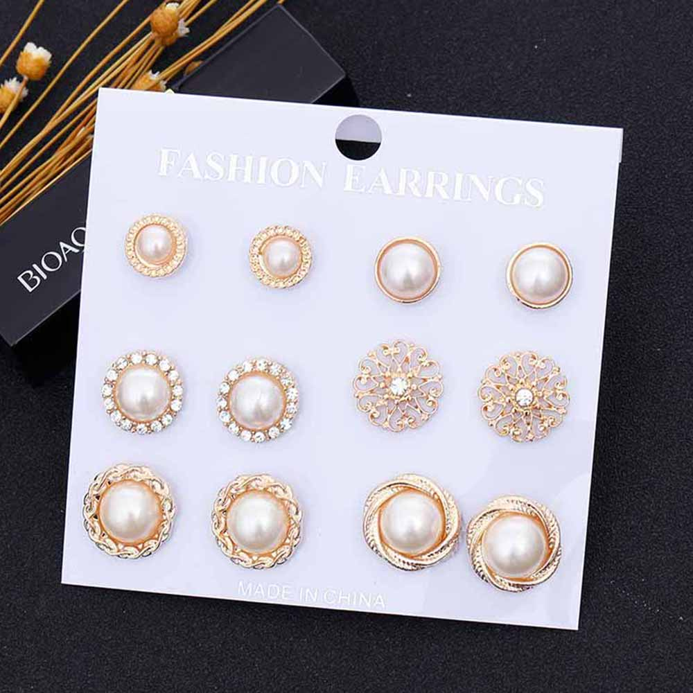 6 Pairs/Set Gold Color Flower Hollow Stud Earring Vintage Crystal Simulated Pearl Earrings