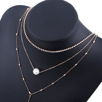Multi Layer Beads Choker Necklaces Pendant Vintage