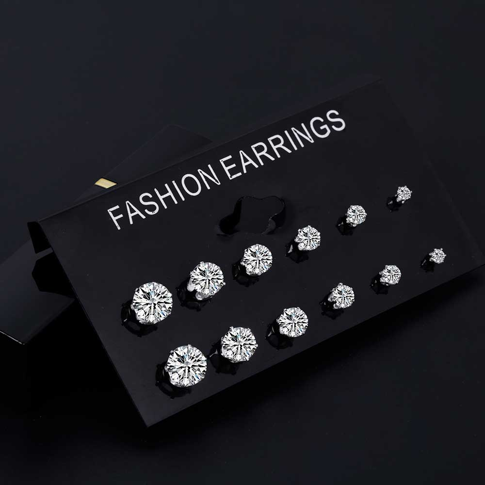 6 Pair/ set Zircon Crystal Stud Earrings
