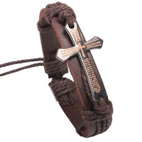 Handmade Braid Genuine Leather bracelet Wrap Charm Cross Bracelets