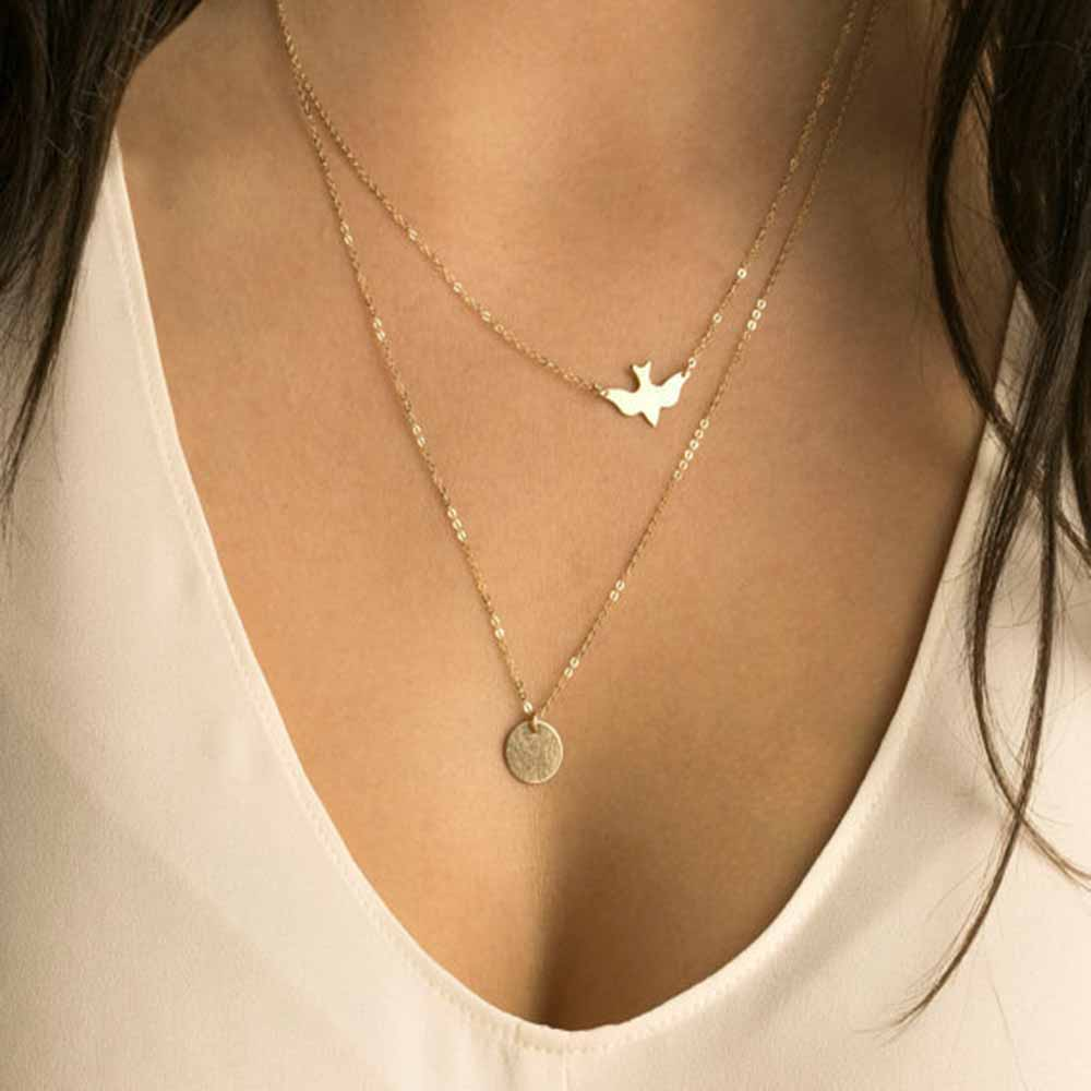 Handmade Jewelry Double Peace Pigeons Gold Necklace Small Swallow Necklace