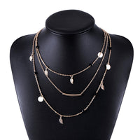 Gold silver chain beads leaves pendant necklace multi layer necklaces