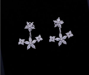 Zirconia Crystal Stone Ear Jackets Jewelry Leaf Ear Stud Earrings
