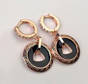 Rose Gold Color Austria Crystal Vintage Drop Dangle Earrings