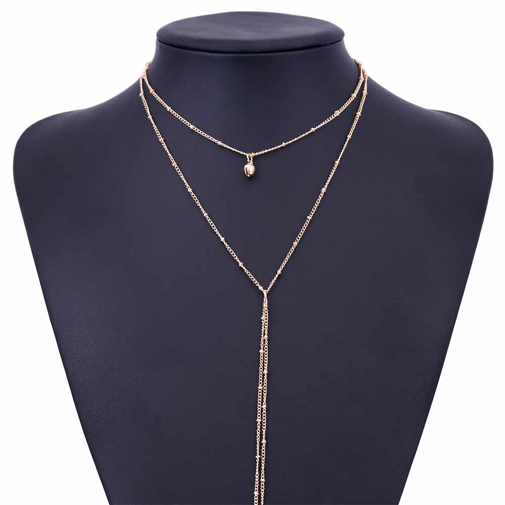 Delicate Women Necklace Y Lariat Dainty Gold Beaded Chain Choker Necklace