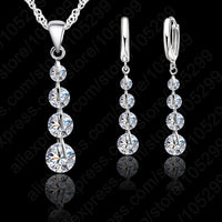 Romantic 925 Sterling Silver Link Chain Crystal  Pendant Necklace / Earrings Choker Set