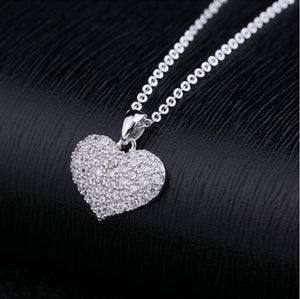 Heart Shape Crystal Choker Necklace White Gold Color Cubic Zirconia Stone Necklaces Pendants