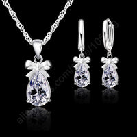 925 Real Sterling Silver Set With White Cubic Zirconia Dangle Earring Pendant Necklace
