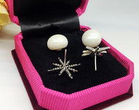 White Gold Color Top Quality Cubic Zirconia Stone Imitation Pearl Stud Earrings