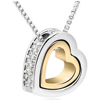 White Gold Color Heart Design 100% Austrian Crystal Pendant Necklace