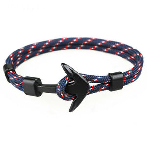 Black Anchor Bracelets Survival Rope Chain Paracord Bracelet