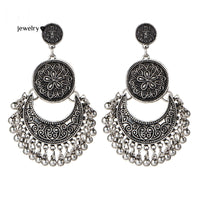 Vintage Silver Color Big Flower Drop Earrings Tassel Pendant
